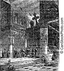 Church of the Nativity, Bethlehem, Israel, vintage engraving...