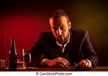 Drunk Businessman - Businessman Smoking and Drinking in a...