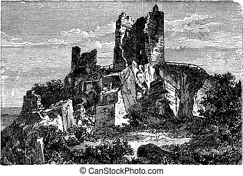 Ruin of Drachenfels Castle in Rhineland-Palatinate, Germany, vintage engraving