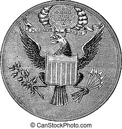 Great Seal of the United States of North America, vintage...