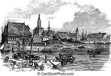 Konstanz in Baden-Wurttemberg, Germany, vintage engraving