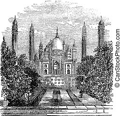 Badshahi Mosque vintage engraving - Badshahi Mosque in...