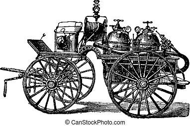 horse-driven, vagón, fuego, vendimia, Ilustración, grabado