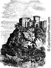 Falaise Castle in Normandy, France, vintage engraving