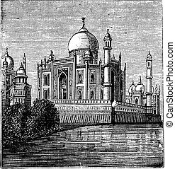 Taj-Mahal, India Old engraved illustration of the famous...