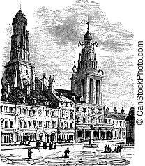 Calais city in France. City square, city hall and lighthouse vintage engraving.