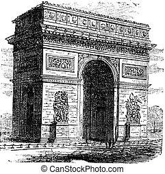 Triumphal Arch or Arc de Triomphe, Paris, France. Vintage engraving.