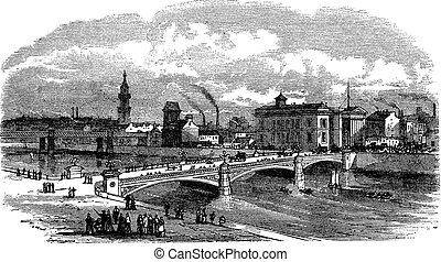 Albert bridge in Glasgow Scotland vintage engraving - Albert...