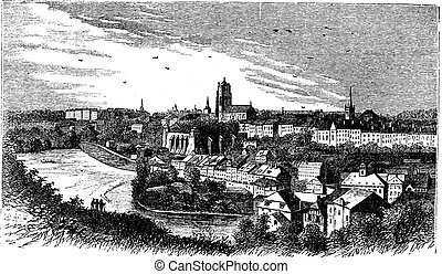 Bern city in late 1800s, Switzerland , vintage engraving. -...