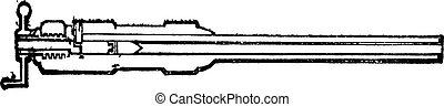 Section barrel Armstrong breech-loading old engraving Old...