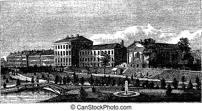 United States Naval Academy in Annapolis, Maryland, USA, vintage engraving
