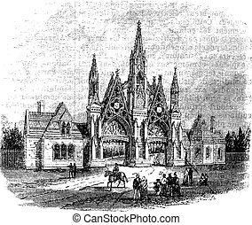 The entrance of GreenWood Cemetery at Brooklyn, United States. Vintage engraving from 1890s.