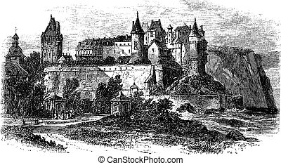 Castle Museum of Dieppe in Normandy, France, vintage engraving