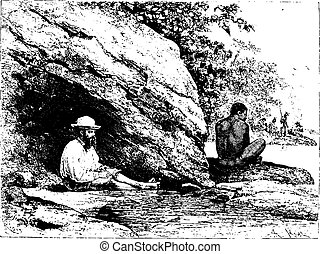In the Shade of a Large Rock in Oiapoque, Brazil, vintage engraving
