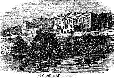 Cheltenham College, in Gloucestershire, United Kingdom, during the 1890s, vintage engraving