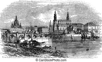 Dresden in Saxony, Germany, vintage engraving - Dresden in...