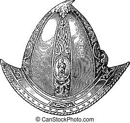 Cabaset peaked or helmet vintage engraving