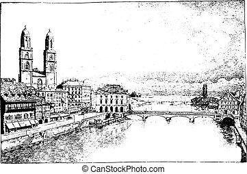 Zurich, vintage engraving.