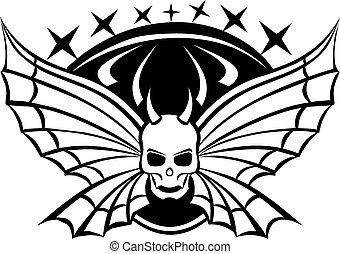 Tattoo of skull with wings, vintage engraving.
