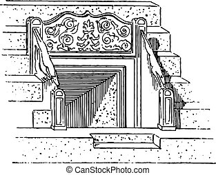 Vomitory of the Coliseum, vintage engraving.