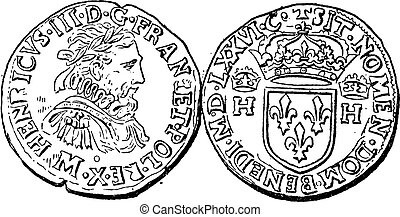 Coin Currency, Henry III of France, vintage engraving
