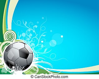 A soccer sport ball on a blue and green background, with...