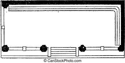 Plan View, vintage engraving
