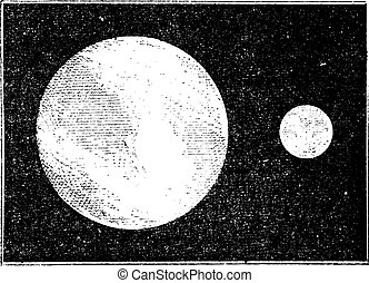 Proportions of the earth and moon, vintage engraving.