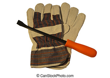 work gloves and small pry bar - gloves and pry bar isolated...
