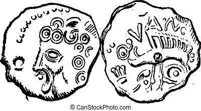 Ancien, celtique, monnaie, de, Tullum, Leucorum, vendange,...