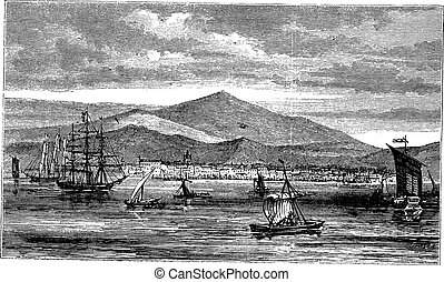 Jakarta (Batavia) in Indonesia, during the 1890s, vintage engraving.