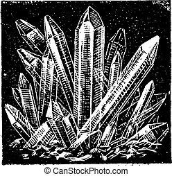 Crystallized Quartz vintage engraving - Old engraved...