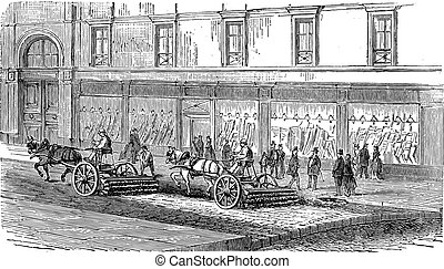 People sweeping the street with carts vintage engraving -...