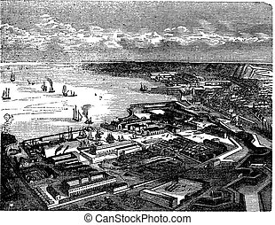 Cherbourg-Octeville, in Normandy, France, during the 1890s, vintage engraving