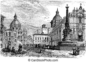 The Elephant fountain,Catania vintage engraving. Old...