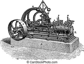 Horizontal Steam Engine, vintage engraving - Horizontal...