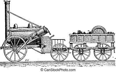 Stephenson's Rocket, vintage engraving