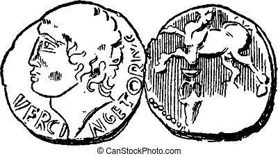 Ancien, celtique, or, monnaie, vendange, gravure,
