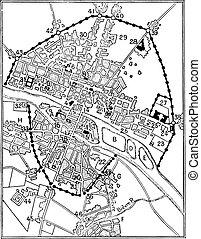 Map of Paris in The era of Charles V, vintage engraving. -...