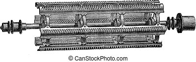 Threshing machine beater Barrett vintage engraving - Old...