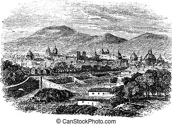 Cusco in Peru, vintage engraving - Cusco in Peru, during the...