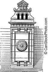 Chimney stack, vintage engraving.