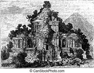 The large Temple at Brambanan, Indonesia, vintage engraving.