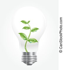 Vector of light bulb with green plant.