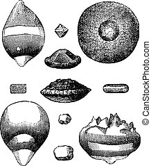 Different forms of hail vintage engraving Old engraved...