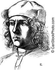 Uffizi Gallery and Pitti, Florence, Portrait drawing by...