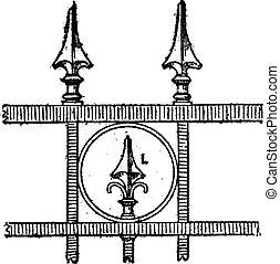 Lance Tip Design, vintage engraving - Lance Tip Design of...