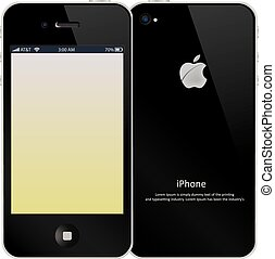 iPhone, Color Illustration - iPhone, Front and Back, Color...