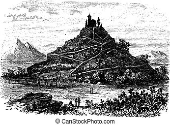Great Pyramid of Cholula or Tlachihualtepetl in Puebla,...