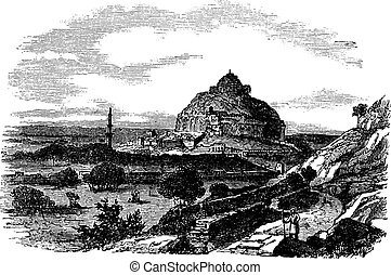 Daulatabad Fort in Maharashtra, India, vintage engraving -...